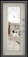 Дверь металлическая с зеркалом  Delta-M 11 DL-1 Черный шелк / DM Белый перламутр