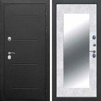 Входная металлическая 11 см ISOTERMA Букле черный Бетон снежный Зеркало MAXI