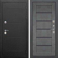 Входная металлическая дверь 11 см ISOTERMA Букле чёрный Царга Бетон серый